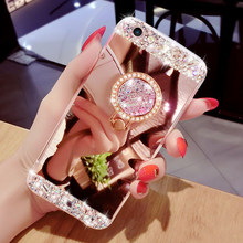 For Samsung Galaxy S7 S7 Edge S8 Plus S9 Plus S3 S4 S5 Mini S6 Edge plus Case , Luxury Diamond Soft Mirror With Ring Stand Case(China)
