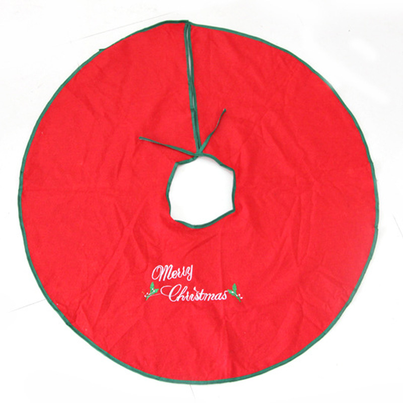 35 (90cm) Embroidered Red Merry Christmas Tree Skirt Mat Decoration Supplies red tree skirts