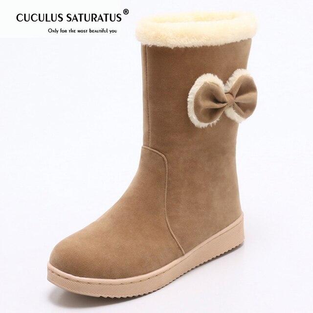 Cuculus ฤดูหนาวหิมะรองเท้าบูทอบอุ่นผู้หญิงกลางลูกวัวรองเท้าบูทรองเท้า Bow Flock รองเท้าแบนรองเท้า Plush 2019 ขนาดใหญ่ 34-41 botas mujer 1653