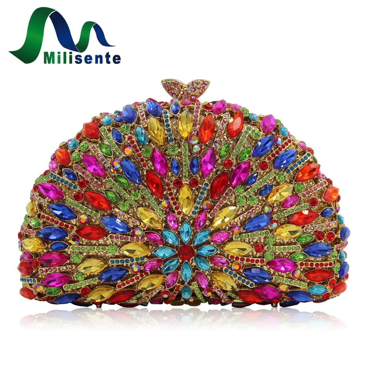 Milisente 10 Colores Mujeres de Lujo Del Rhinestone de Embrague Noche Bolsa de N