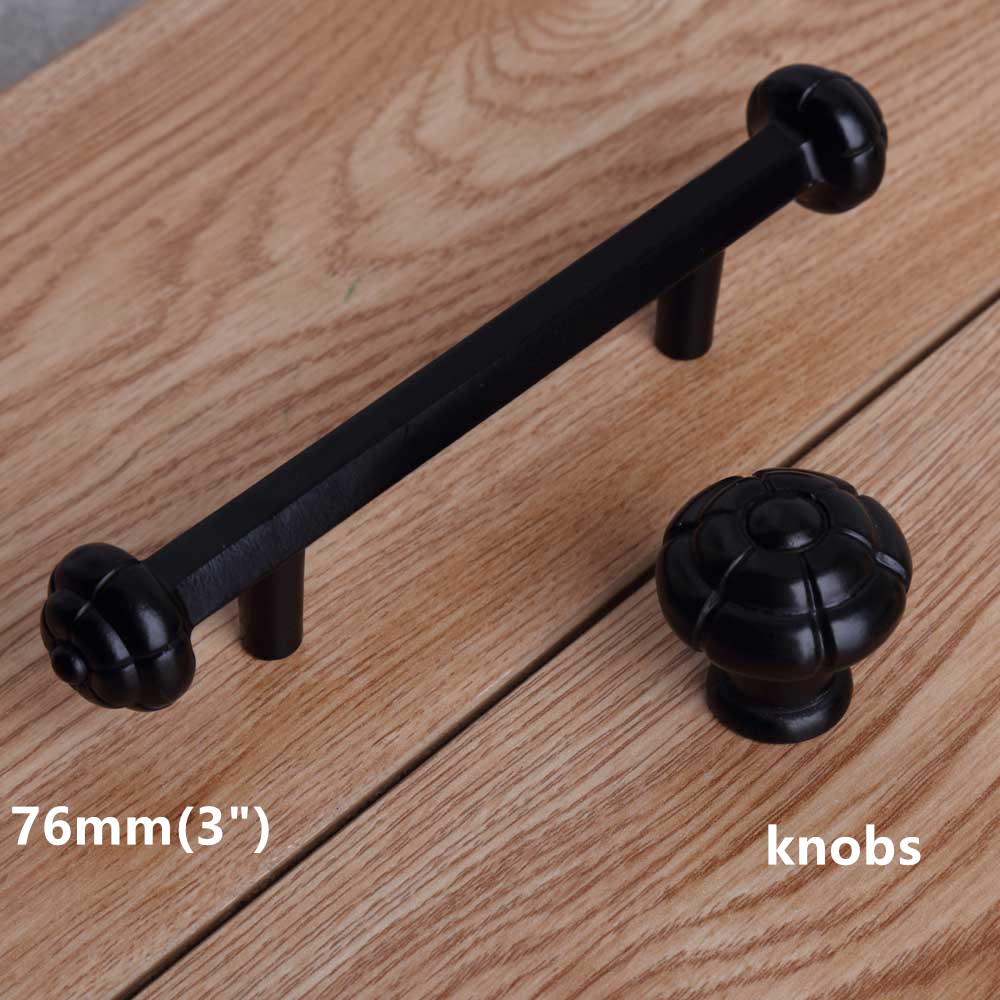 76mm modern simple black furniture handles black drawer cabinet knob pull 3 antique black dresser door handle retro solid knob