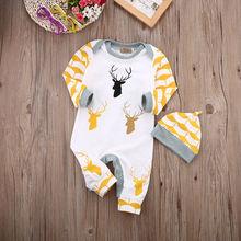 Baby Boys Girls Infant Cute Deer Warm Cotton Long Sleeve Romper Jumpsuit Hat 2PCS Outfits Set  Clothes