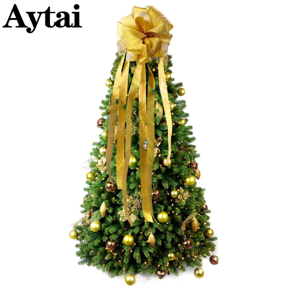 Aytai Big Size Christmas Bow Tree Topper With Streamers Modern Christmas Tree Decoration Ornament For Home Party Supplies Tree Toppers Aliexpress