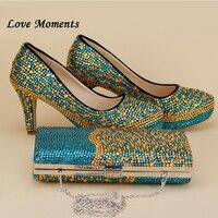 Синие и золотые свадебные туфли со стразами и наборы кошельков на платформе и высоком каблуке женские туфли лодочки Свадебные вечерние туф