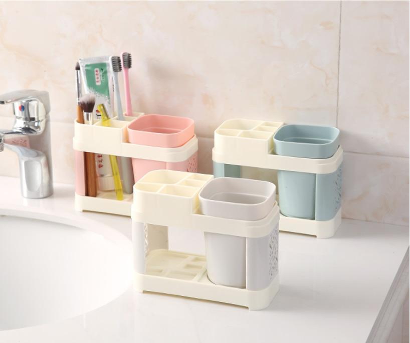 Bathroom Toothbrush Holder Suits Toothbrush Cup Toothpaste Bath Set Bathroom Storage Rack Holder Toothpaste Storage Box
