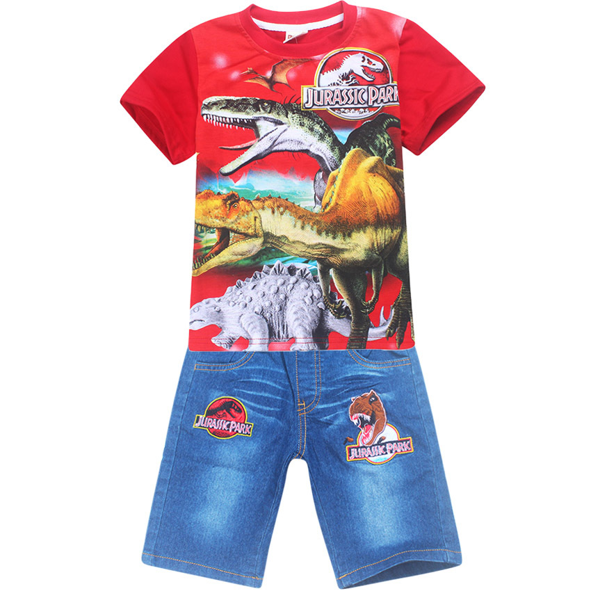 Boy Clothing Character Shorts Set dinosaur Pattern T-shirt + jeans for boys Tops Summer Baby Boys Girls Sport suits 4-12
