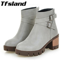 New Trendy Winter Women Retro High Heels Walking Shoes Lady Ankle Boots Short Snow Boots Sneakers