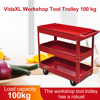 vidaXL Heavy Workshop Garage DIY Tool Storage Trolley Wheel Cart Tray 3 Tier Shelf large Capacity for Holding Heavy Equipment