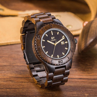 LEEEV Newest Wood Watch Men Ebony Simple Display Date Quartz Watches Brand Fashion Role Luxury Wooden Wristwatches Drop Shipping