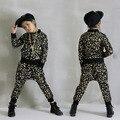 Новая мода Весна Осень детская одежда набор Золото Серебро Печати Костюмы дети спортивные костюмы Хип-Хоп танца, брюки и толстовка