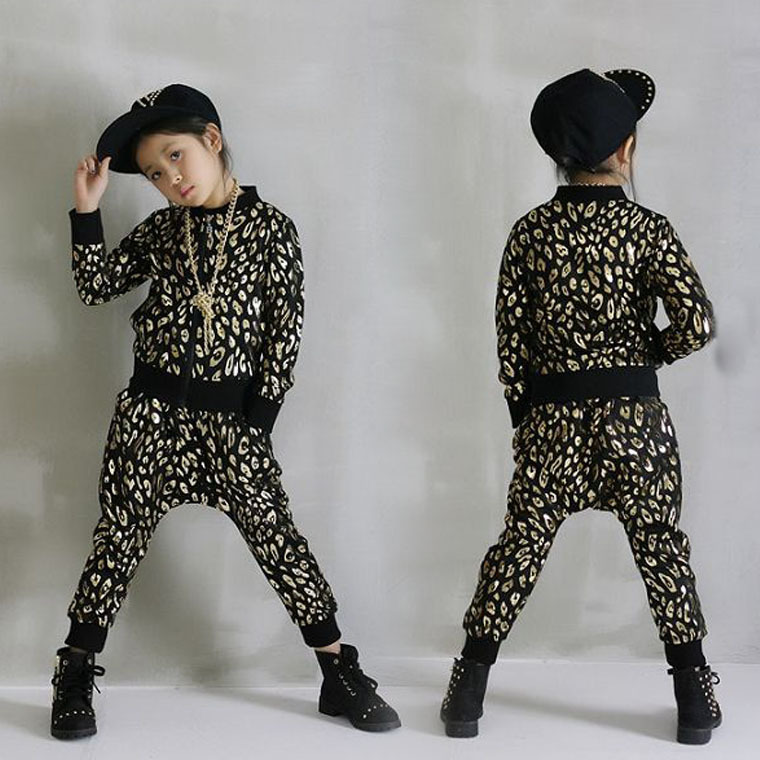 ФОТО New fashion Spring Autumn children's clothing set Gold Silver Print Costumes kids sport suits Hip Hop dance pant & sweatshirt