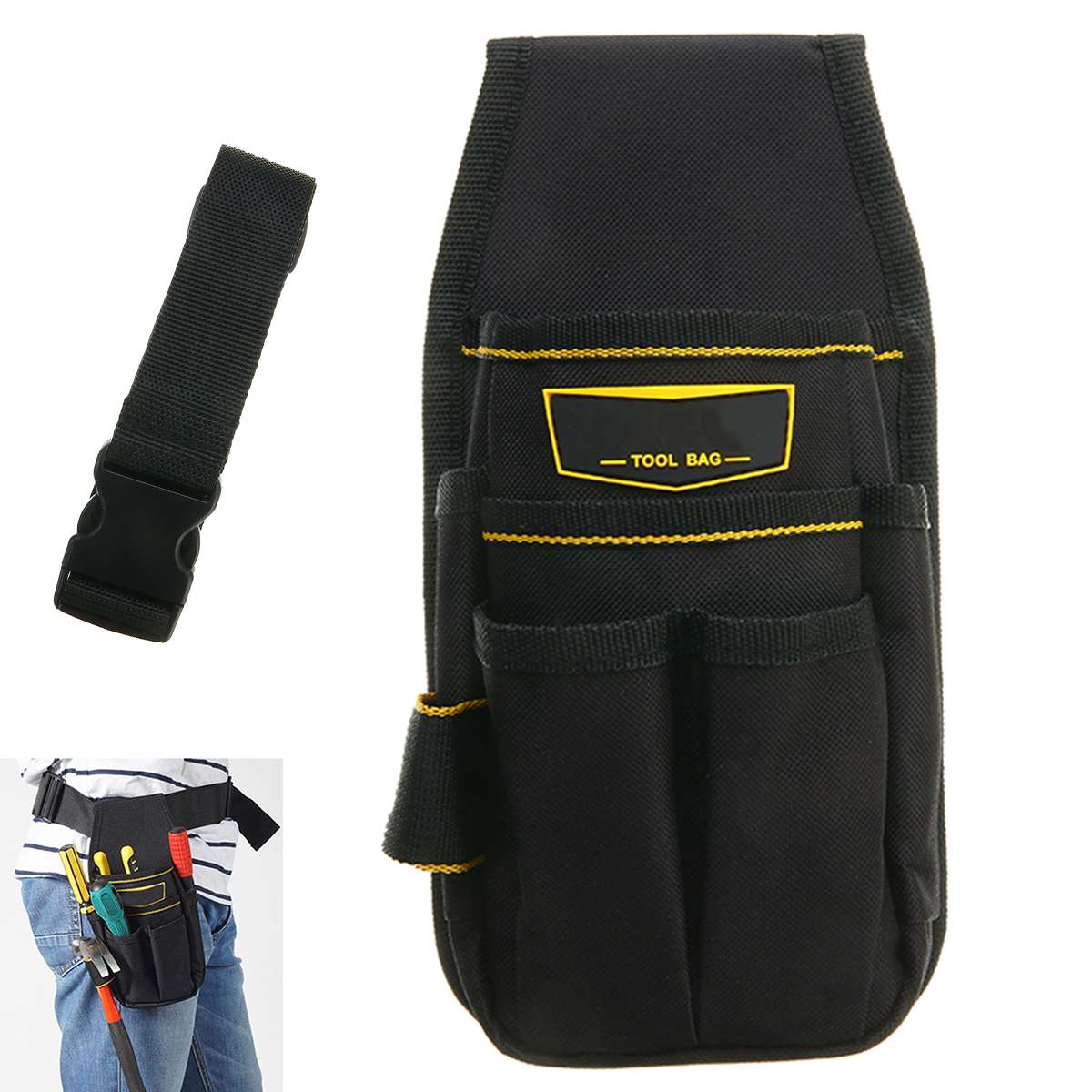 New Electrician Tool Bag Waist Pocket Pouch Belt Tool Storage Holder Maintenance Tools Screwdriver Pliers Storage Bag rewin wb 9025 handy 2 pocket 5 holder water resistant dacron waist tool bag black yellow
