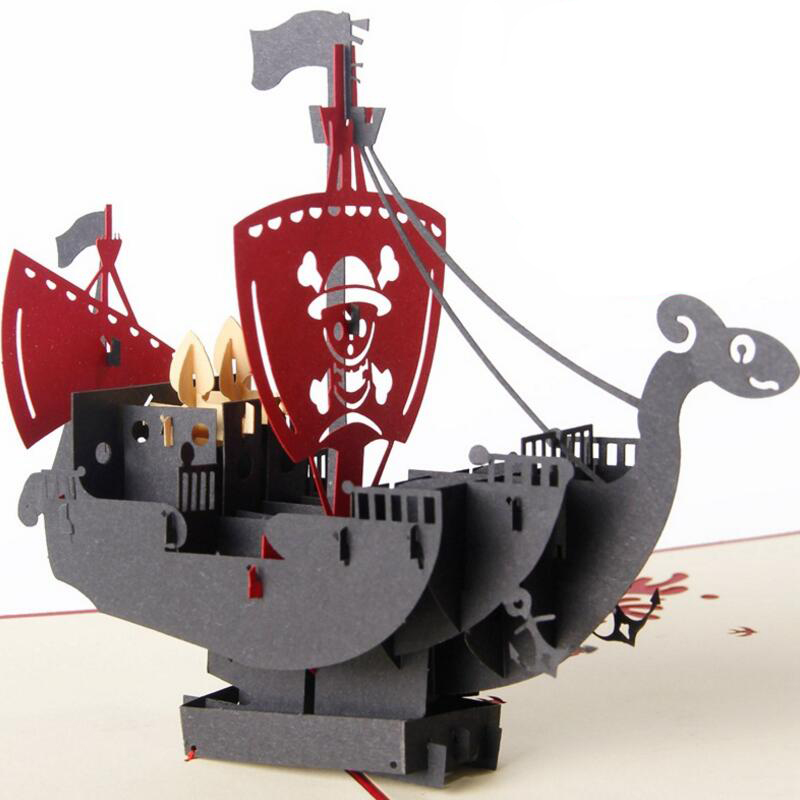 Cool 3D Handmade Pirate Ship Kids Birthday Gift Card Unique Kirigami Greeting Cards 3pcs/lot 30pcs in one postcard take a walk on the go dubai arab emirates christmas postcards greeting birthday message cards 10 2x14 2cm