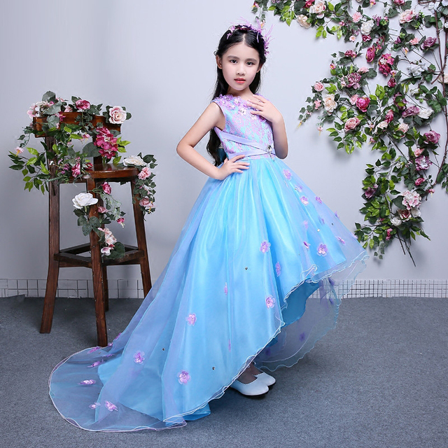 2018 Summer Luxury Children S Birthday Wedding Party Long Tail Dress Kids Babies Evening Pageant