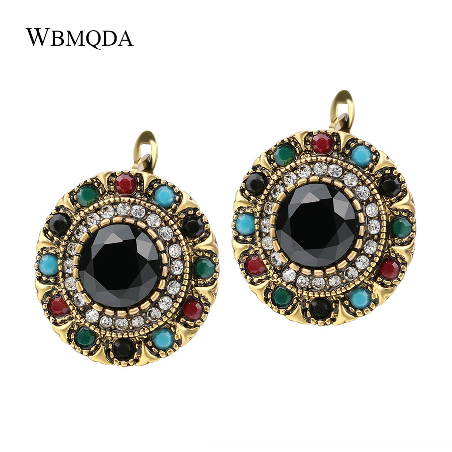 Vintage Jewelry Bohemian Style Crystal Earrings For Women Gold Colorful Resin Stud Earings Trending Products 2018 Wholesale(China)