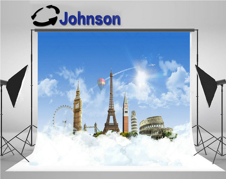 eiffel tower europe heaven hot air balloon clouds backdrops Vinyl cloth High quality Computer print party background