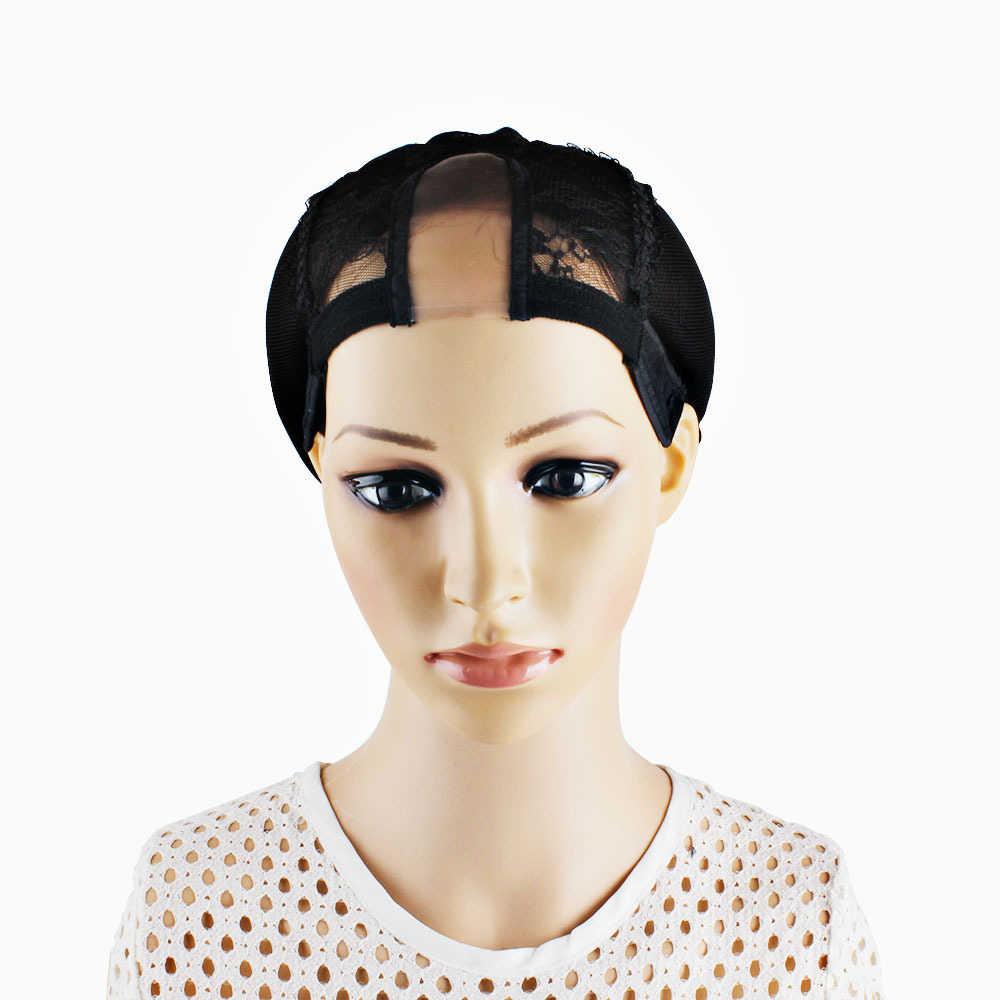Черного цвета для волос Москитная сетка для Для женщин u-образный париков, головных уборов и шелковыми бутонами, Экран парик Регулируемая шапка в рубчик парик на сетке Кепки аксессуары