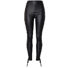 Sexy Women Faux Black Leather Pants Matt look Pant high waist Super elastic double-sided strap coated faux leather denim pants
