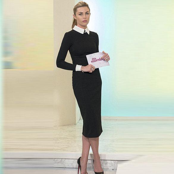 Office Dress Long Sleeve Autumn Hot Black Dress White Collar Turn