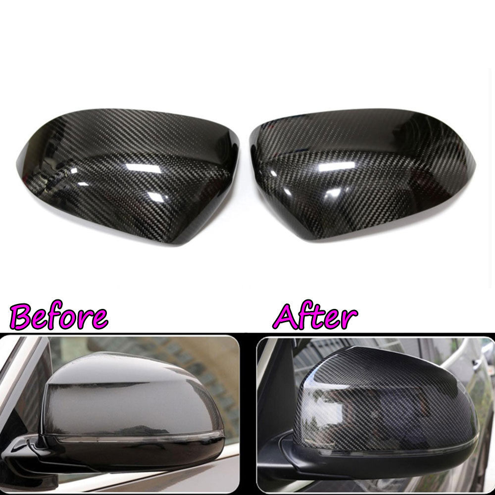 BBQ@FUKA Carbon Fiber Door Rearview Mirror Caps Cover Molding Trim Garlish Bezel For BMW X5 F15 X6 F16 carbon fiber mirror rearview cover 2pcs for bmw x6 f16 2015