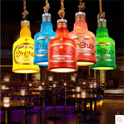 Resin <font><b>Bottle</b></font> Shade American Country Vintage Industrial Lamp <font><b>LED</b></font> Pendant <font><b>Lights</b></font> Fixtures For Bar Dinning Room Indoor Lighting