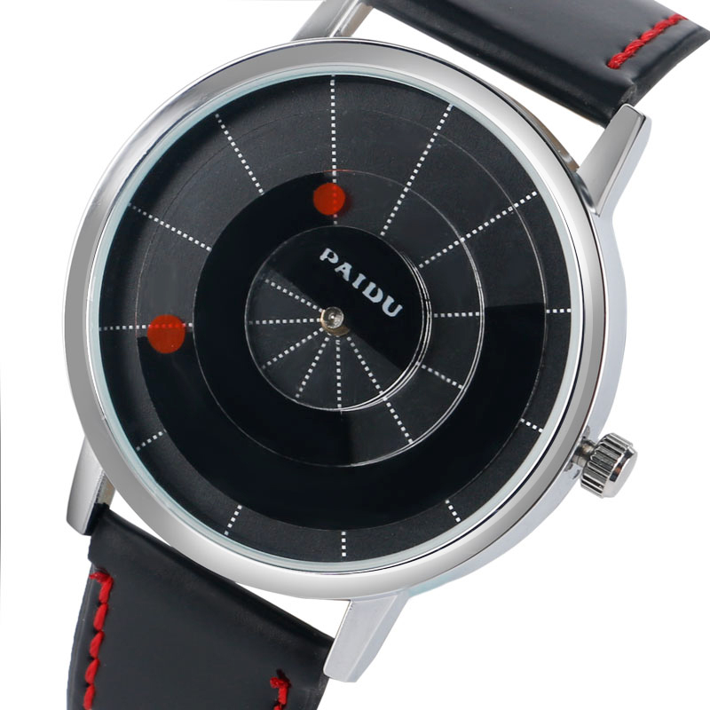PAIDU Special Turntable Dial Sport Watches for Men Leather Modern Trendy Casual Unique Student Quartz Watch Fashion Male Clock