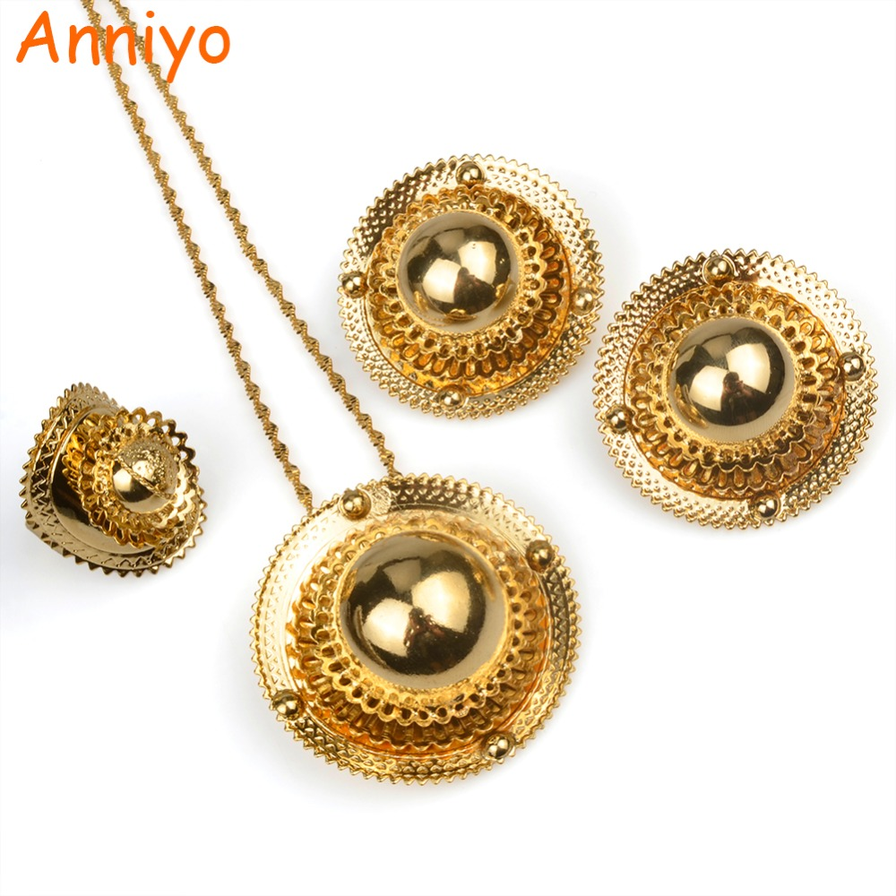 Anniyo Ethiopia Gold Color Wedding Sets Necklace Earring