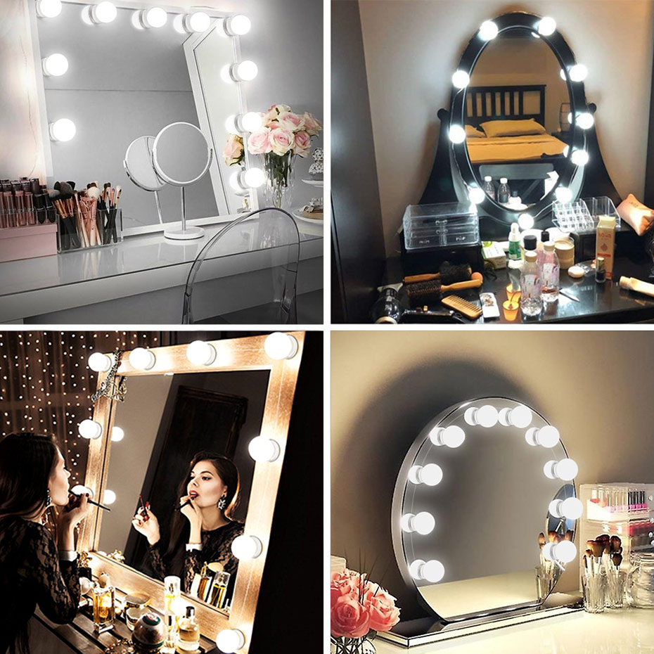 <font><b>Hollywood</b></font> makeup mirror 2/6/10/14 pcs LED Bulbs Make Up desk Bulbs USB Port Security Convenient Light LED Mirror Dressing Table image