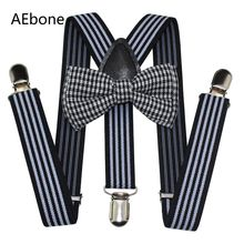 AEbone Kids Baby Bow Tie and Suspenders Boys Striped Black Suspenders for Pants Children Braces Bowtie Tirantes Bebe Sus64