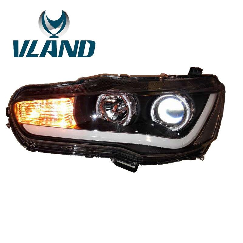 VLAND Factory For Car Head Lamp For Lancer EX LED Head Light 2008 2009 2010 2012 2015 Bi Xenon Lens Headlights Angel Eyes