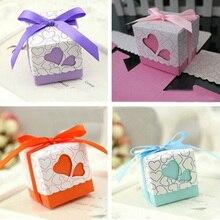 «Лучшее» 50 шт. Любовь Сердце Маленькая лазерная резка подарочные коробки для конфет Свадебная вечеринка конфеты сумки с лентой Декор 889