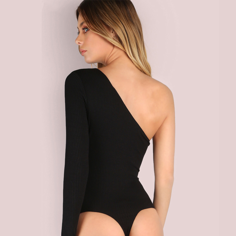 Plus Big Size One Off Shoulder Backless Top Thin Knitting Bodysuit Women Sexy 2018 Hot Sale Fashion Mulheres Clothing 8C0154