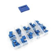 50PCS/LOT 3296X Multiturn Trimmer Potentiometer Kit 100R 1M Precision Variable Potentiometers 3296|Potentiometers|Tools -