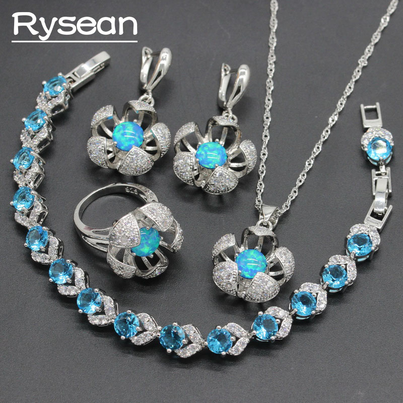 925 Silver Jewelry Sets For Women Australia Blue Opal Ring Earrings Necklace Pendant Sky Blue Crystal Bracelet Rysean a suit of gorgeous rhinestoned flower necklace bracelet earrings and ring for women