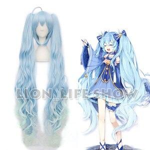 Image 1 - VOCALOID 2017 Snow Miku Hatsune Star Princess Long Blue Curly Wavy Cosplay Wig