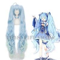 VOCALOID 2017 Snow Miku Hatsune Star Princess Long Blue Curly Wavy Cosplay Wig