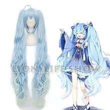 VOCALOID Peluca de Cosplay ondulada, azul, larga, Miku con diseño de nieve, Hatsune, estrella, Princesa, 2017