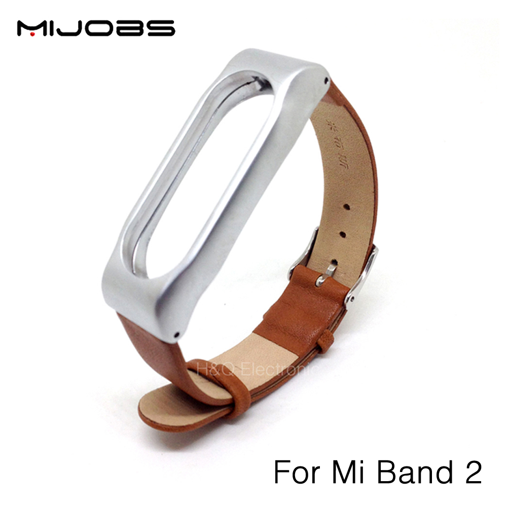 Original Mijobs Adjustable Xiaomi Mi Band 2 Leather Strap with Metal Frame for MiBand 2 Smart
