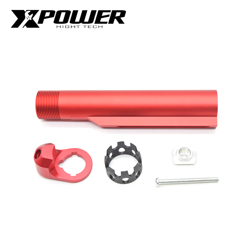XPOWER AR Enhanced Castle Nut Extended End Plate 6 Position Stock Pipe For Airsoft Accessories Paintball AEG Air Guns