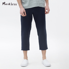 Markless Men Joggers Fashion Ankle-Length Pants Thin Male Casual Skinny Linen Trousers Loose Cotton Pants Men's Clothing