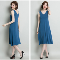 New arrival summer women's sleeveless knit dress elegant laides v neck pure color long knit dresses