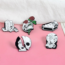 SexeMara New Hyperbloe Alloy Skull Brooch Personality CartoonTattoo Pattern Oil Enamel Pin Badge For Women 2019 Hot Sale
