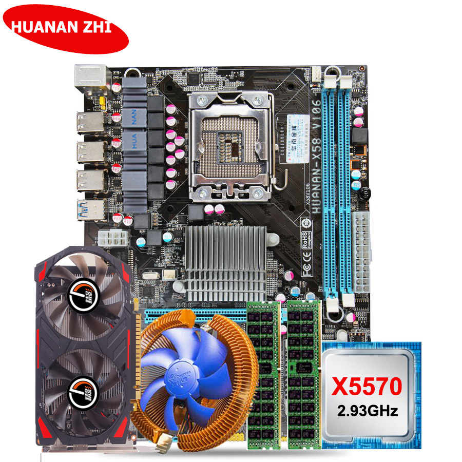 Hot HUANAN ZHI X58 LGA1366 motherboard CPU RAM set GTX750Ti 2G video card CPU Xeon X5570 2.93GHz RAM 8G(2*4G) DDR3 server memory