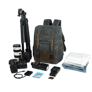 Image 5 - Careell 3059 حقيبة كاميرا جلدية حقائب الظهر سعة كبيرة ل 15.6 بوصة محمول حقيبة حمل لحقيبة السفر كاميرا فيديو رقمية