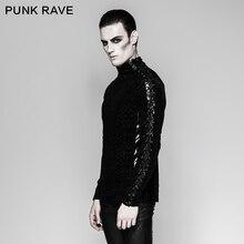 ใหม่ PUNK RAVE ROCK Gothic บุคลิกภาพผู้ชาย Steampunk รถจักรยานยนต์สบายๆเสื้อยืด TOP T467