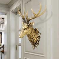 Große Hirsche Kopf Statue Hause Dekoration Zubehör 3D Tier Abstrakte Skulptur Wand Hängen Dekor Weihnachten Statue Wohnzimmer Wandbild