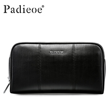 Padieoe Luxury Genuine Leather Day Clutches Men ID Card Holder Wallet Fashion Business Long Purse for Phone Durable Hot Handbags