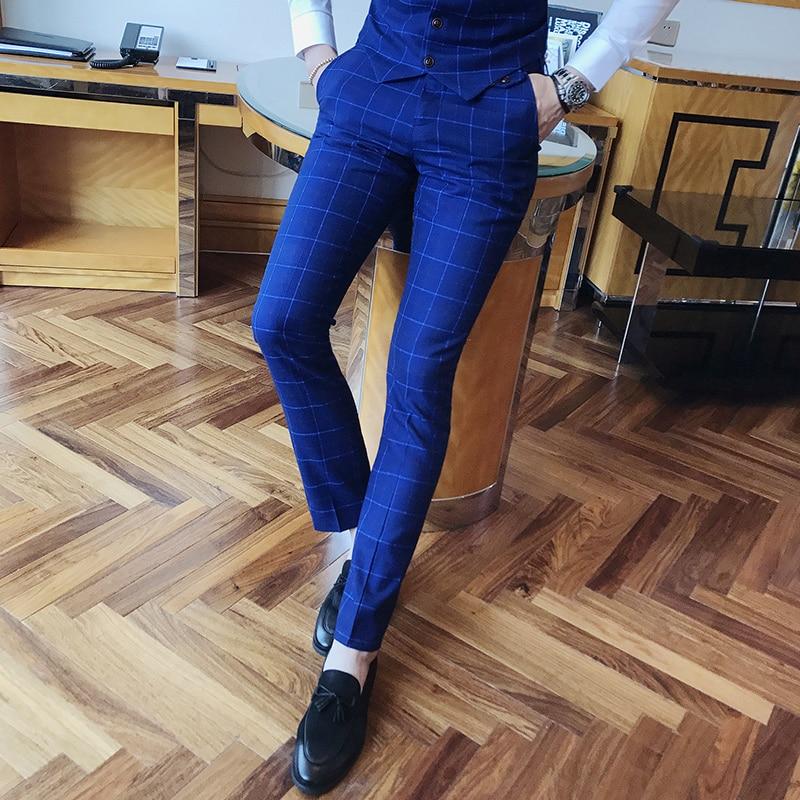 2019 Klassische Plaid Mann Anzug Hosen High-end-business Hochzeit Bräutigam Männer Kleid Hose S-3xl