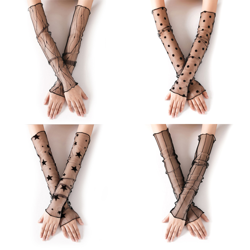 European American Elastic Nylon Long Fishnet Gloves Black Sexy Lace Glove Fingerless Mitten Punk Women Gloves For Summer