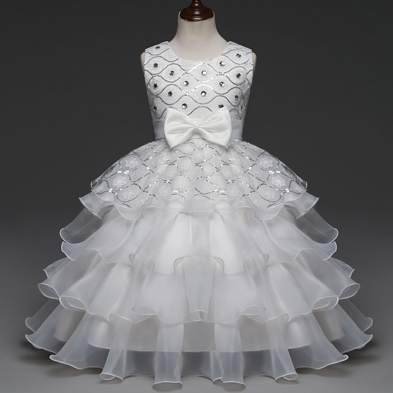 Children Gowns For Wedding: Wedding Dress Children White Easter Beading Prom Party